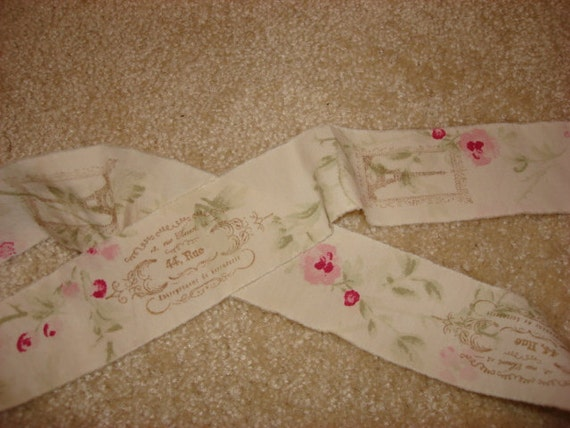 Shabby fabric ribbon hand stamped french stamps