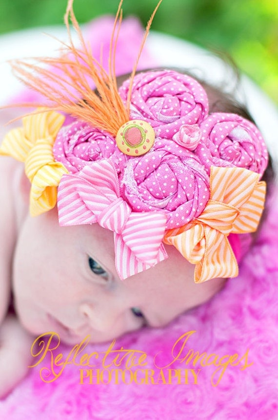 Summer's Delight Headband, Infant headband, photo prop, toddler headband, baby headpiece