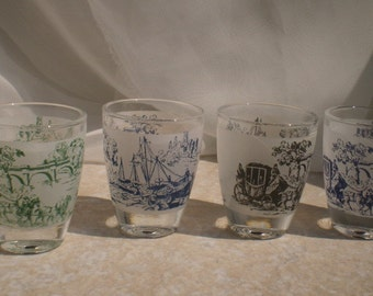 Vintage French Shot Glass 4 Piece Set