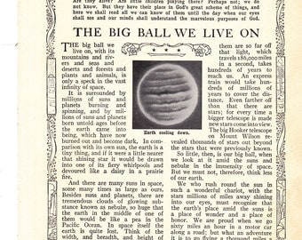 The Big Ball We Live On vintage book pages from 1928 Set Of 4 Pages