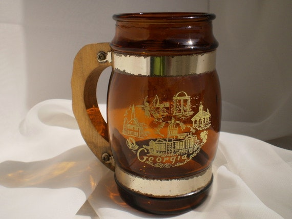 Vintage Georgia Amber Glass Wooden Handle Beer Stein