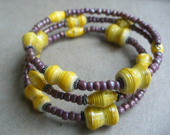 Mustard Yellow Paper Bead memory wire bracelet