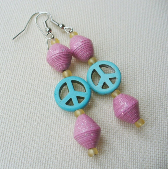 Peace Earrings - Pink and Turquoise Paper Bead Earrings