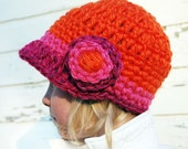 RESERVED for Courtney-Thickie-Crochet Hat with Brim and double bloom for KIDS- choose your colors