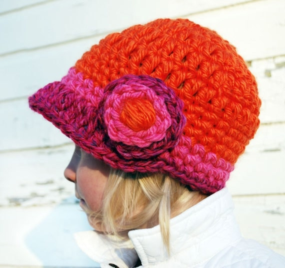 Thickie-Crochet Hat with Brim and FULL Bloom for KIDS- choose your colors
