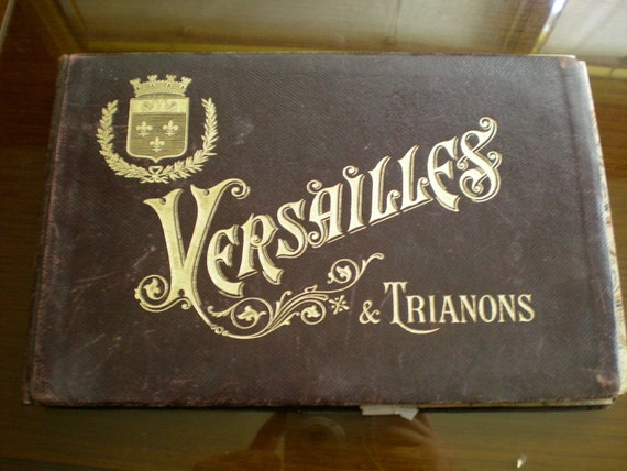 Versailles, antique picture book, leather bound.
