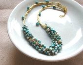 CLEARANCE SALE 50% OFF-Turquoise/ Pearl Cluster Braided Necklace