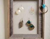 Barn Wood Frame - Jewlery Hanger and Organizer - Turquoise Distressed Knob - Small