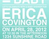 Custom Printable: He Plus She Text Baby Shower Invitation