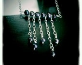 Violet Rain - cultured violet pearl and silver necklace