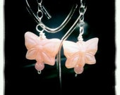 Pink Butterfly and Sterling Earrings