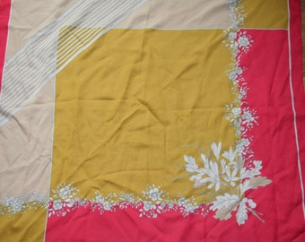 Fab flower print 1960s vintage scarf (a2)