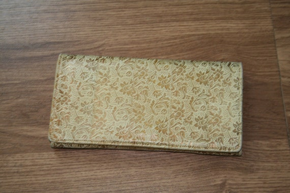 Vintage Italian embossed leather clutch bag with purse