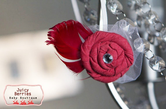 Red Rosette Headband with Feather