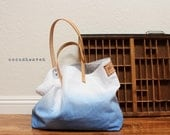 TOTE BAG...Blue (with leather strap)