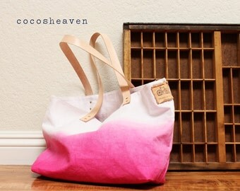 CANVAS TOTE BAG..pink (with leather strap)