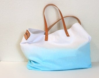 CANVAS TOTE BAG...Aquamarine with leather strap (featured on Etsy front page)