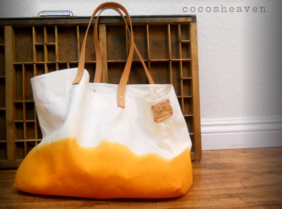 CANVAS TOTE BAG..sunshine orange (with leather strap)....(featured on Etsy front page)