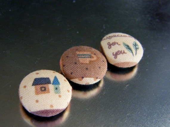 Fabric Buttons, Handmade Button, Autumn Colors,  Fabric Magnets - Brown Green Ivory Colors