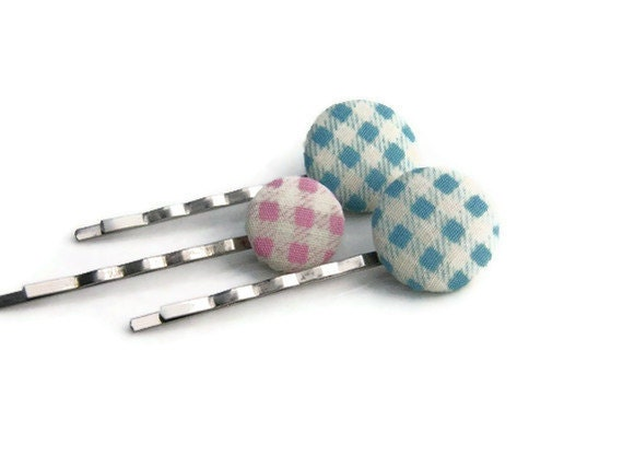 SALE Bobby Pins, Blue Pink Checkered Fabric buttons, Set of  Hair Pins, Fabric Covered Button Bobby Pins,Hair Accessories