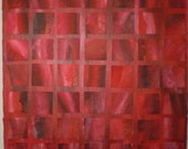Red Square Painting  Acrylic 18 x 18 Covered with Smaller Red Canvas Squares- Full of Texture