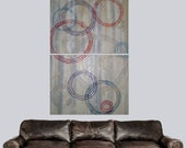 Original Abstract Painting Striped White and Grey with Circles