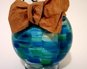Flower Vase Hand Painted Green and Blue with Removable Bow