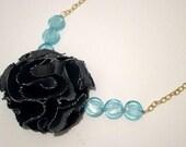 Blue Fabric Floral Necklace, Denim Fabric Necklace