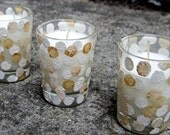 Gold and White Dot Votive Candle Holders For Thanksgiving
