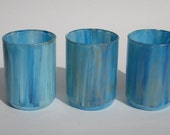 Votive Candle Holders Small Hand Painted Light Blue with Gold Flecks