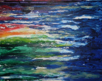 Painting Oil Abstract Rainbow Blurry Blue