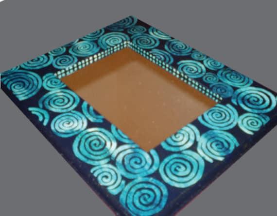 Dark Blue Circle Swirls Mirror, Hand Painted