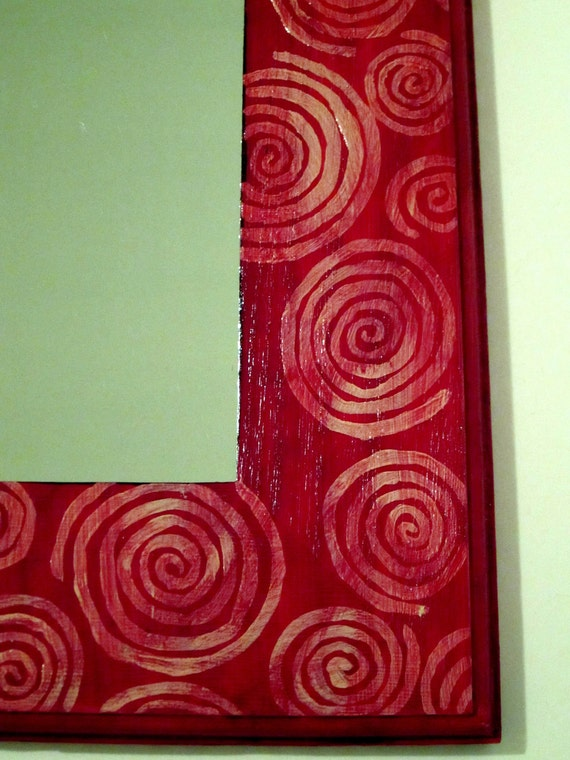 Red Frame Mirror with White Circles 8 x 10 Perfect for Entryway Rectangle Hand Painted