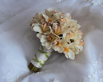 Wedding Real Touch Ivory/White Cymbidium Orchids with clear Bouquet Gems Wedding Bouquet & Matching Orchid Boutonniere