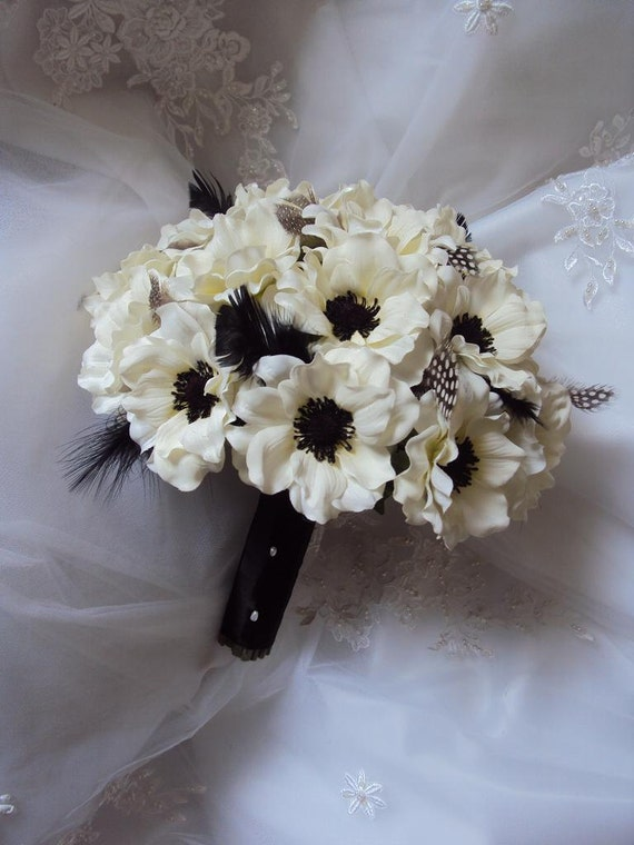Wedding Silk Ivory Anemones Wedding Bouquet accented with Black Ostrich & guinea feathers  with Matching Anemone Boutonniere