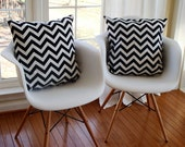 decorative pillow pair of two zig zag chevron black and white 18x18 designer decorative pillow covers  modern accent pillows