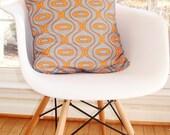 Accent pillow linen designer decorative pillow cover in dark grey and orange modern accent pillow