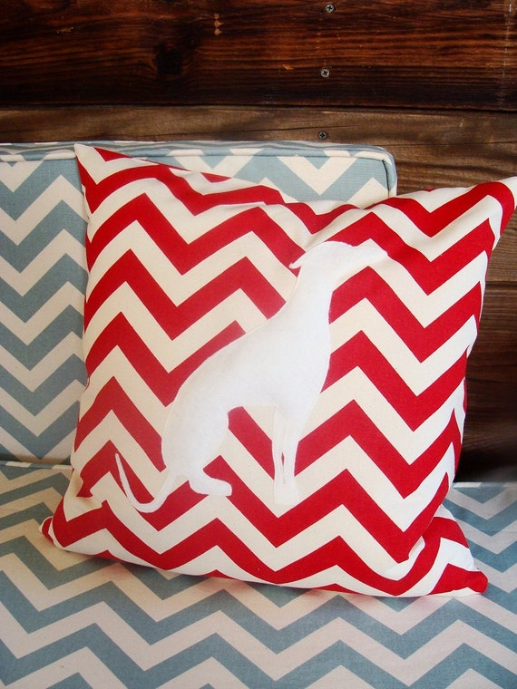 Accent pillow chevron unique modern decorative pillow with embroidered dog silhouette