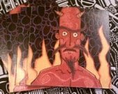Cartoon Flaming Devil Magnet