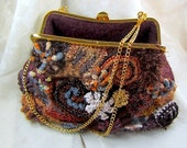 Holiday Evening brown felted wool knitted free form Fancy Handbag for her- gift idea/ rusteam/tt team