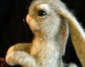 Needle felting  Bunny Gray Natural - OOAK Handmade Needle Felted  - gift idea
