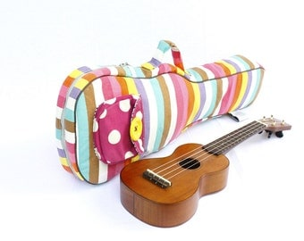 Concert ukulele case - Candy Pop -- Colorful Pastel Ukulele Bag (Made to order)