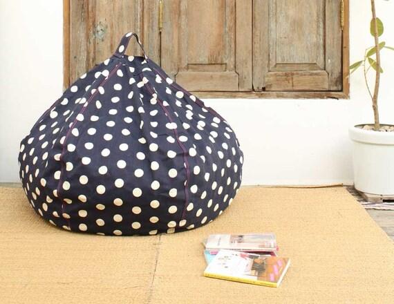 SALE -- Navy Blue Polka Dot Bean Bag Chair