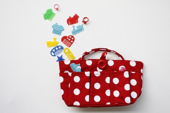Free Shipping - Bag Insert - - Red and White Polka Dot Bag Organizer