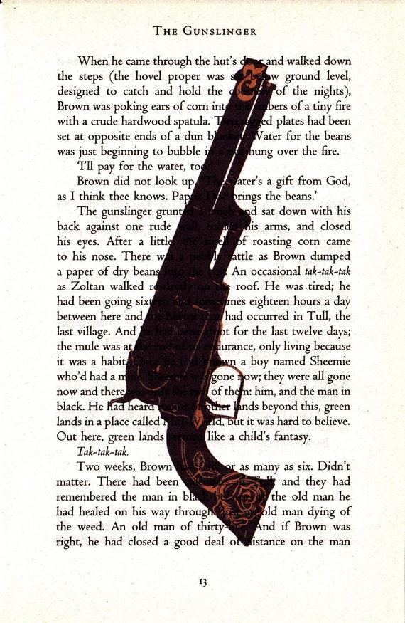 Gunslinger Printed Illustration on Page from Novel