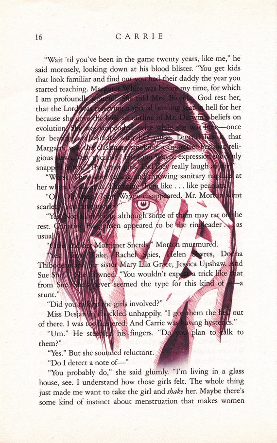 Carrie Printed Illustration on Page from Novel