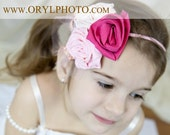 So Beautiful Pink Flowers Headband. Customize yours color of flowers.
