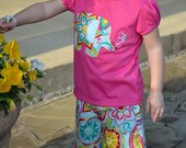 ELEPHANT applique tee & matching capri OUTFIT...sizes 12M to 5
