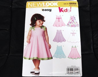 SIMPLICITY NEW LOOK Series Patterns 6687 Size A Girl's Summer Dress.