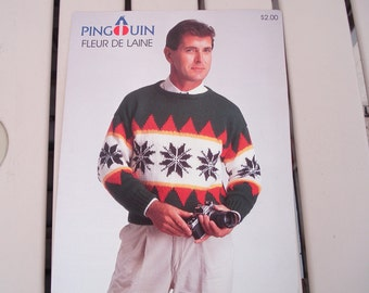 PINGOUIN Knitting Pattern Leaflet Man's Pullover Sweater Issue P2100.
